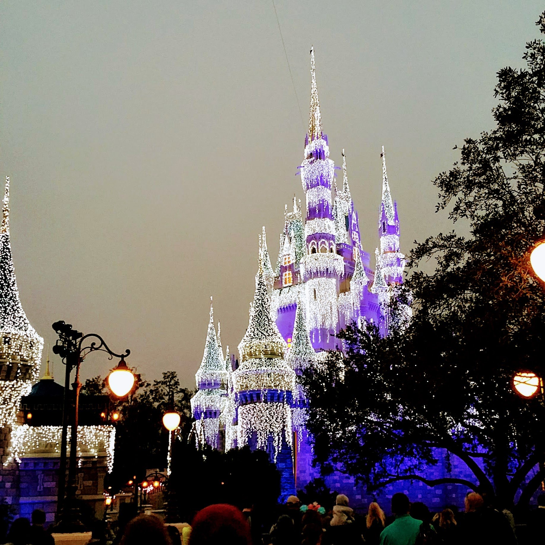 Cinderella's castle during the holidays