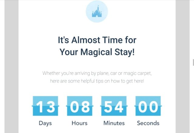 Disney World Email countdown to trip